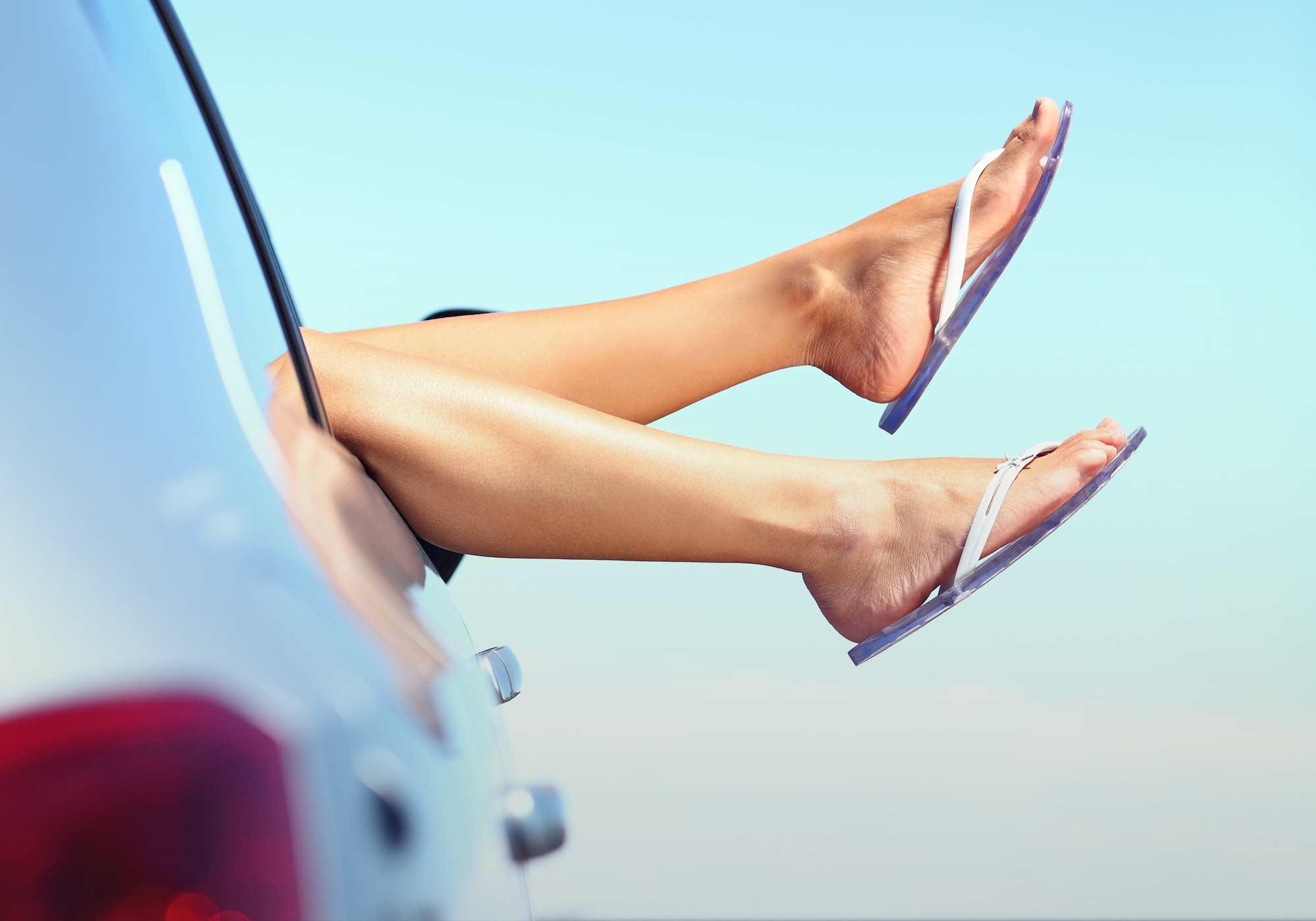 Woman legs travel holidays