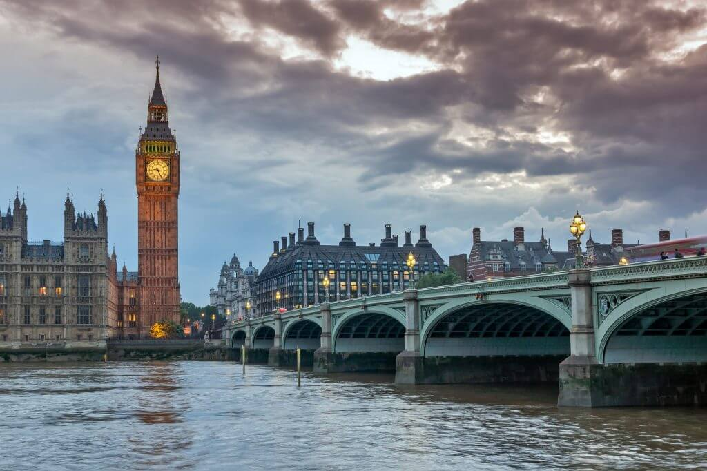 Night photo of Westminster Bridge and Big Ben, London, England, United Kingdom